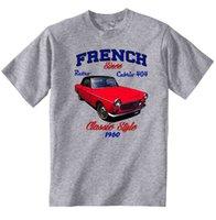 französische automarken großhandel-VINTAGE FRENCH CAR PEUGEOT 404 CABRIO - NEUE BAUMWOLLE T-SHIRT Marke Hemden Jeans Print Klassisches Qualitätshohes T-Shirt