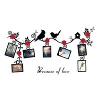 Wholesale flowering trees photos - New 3D Sticker On The Wall Black Art Photo Frame Memory Wall Stickers Home Decor Family Tree Decal Birds Flower Vine