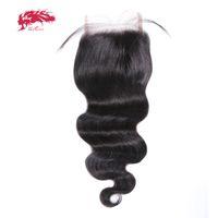 ali brazilian saç toptan satış-Ali Kraliçe Saç Brezilyalı Vücut Dalga Dantel Kapatma Remy Saç Demetleri 130% yoğunluk ile 4 * 4 Siwss Dantel Ücretsiz nakliye