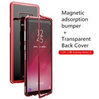 alüminyum nota telefon çantası toptan satış-Ultra-ince Lüks Telefon Kılıfı için Samsung Galaxy Note 8 N950F Temperli Cam Arka Kapak + Manyetik adsorpsiyon Alüminyum Tampon