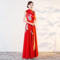 robes chinoises modernes achat en gros de-2018 Moderne Cheongsam Sexy Qipao Femmes Longues Robes Traditionnelles Chinoises Oriental Robes De Mariée Robe De Soirée Robe Orientale