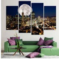obra de arte de pared grande al por mayor-Moda HD Large Canvas painting 4 Paneles Home Decor Wall Art Picture Prints de New York ciudad vista nocturna Artwork F121