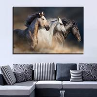 drei pferd malerei großhandel-Leinwand HD Drucke Malerei 1 Stück / Stücke Drei Pferde Laufen Bilder Wohnkultur Rahmen Tier Poster Für Wohnzimmer Wandkunst