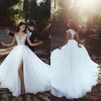 Wholesale Wedding Dress Shorter Front - 2018 Gorgeous Summer Garden Lace Chiffon Wedding Dresses High Thigh Split A Line Cap Sleeves Sheer Appliques Backless Bridal Gowns Cheap