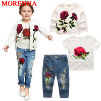 Wholesale Jeans Jacket Sets - MORENNA 2018 Hot Girls Clothing Suit Jacket + T Shirt + Jeans 3 Pieces Fashion Rose Long Sleeve Coat Shirt Denim Children's Clothing Set