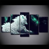 ingrosso vernice verde tela bianca-HD Stampato 5 pezzi astratta White Wolf Canvas Painting Green Glowing parete Immagine di poster e stampe spedizione gratuita NY-7276B