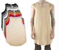 Wholesale Green Tank Tops - Mens Tops Spring Summer New Slip Cotton High Street Hole Men's Vest Male Hip-Hop Tank Tops 10 Colors