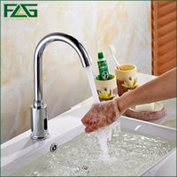 Wholesale automatic tap sensor - Water Saving Faucet Chrome Polished Touchless faucet Fully-automatic Infrared Sensor Tap Waterfall Bathroom 8809