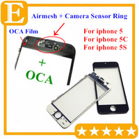 Wholesale iphone 5c glass lens - AAA+ Front Touch Screen Panel Outer Glass Lens with Cold Press Middle Frame with OCA installed for iPhone 5 5g 5c 5s Assembly