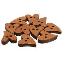 kahverengi düğme ahşap toptan satış-Yenilik Kahverengi Ahşap Ahşap Dikiş Kalp Şekli Düğme Düğmeler Craft Scrapbooking Konfeksiyon Aksesuarları için 20mm 100 ADET