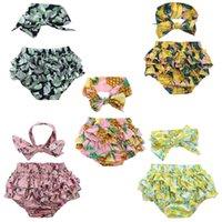 3t mädchen rüsche badebekleidung großhandel-Schöne volant rüschen baby mädchen floral briefs + bogenknoten stirnband niedlich sommer strand bademode kurze hosen kleidung gesetzt