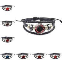 chaîne de bijou noir achat en gros de-2018 Mode Bracelet En Cuir De Verre Unisexe Réglable Bracelet Noir Bijoux Temps Gem Chaîne Main Tricoté À La Main