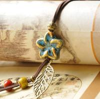 Wholesale porcelain flower pendant - Ceramic Sweater Chain Hand-woven Necklace Retro Loose Bead Flower Long Necklace Rope Clothing Pendant Creative Fashion Women Jewelry 2 Color