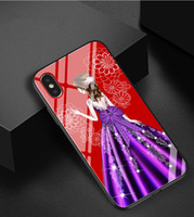 Wholesale colored tempered glasses for iphone resale online - Colored Pattern Goddess Wedding Dress Case Fashion Tempered Glass Soft Silicon Women Girl Cover For iPhone s PLus x