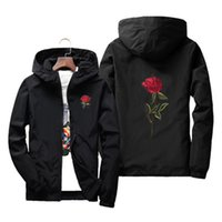 coupe-vent en nylon noir achat en gros de-Rose veste coupe-vent hommes et femmes enfants veste nouvelle mode blanc et noir Roses Outwear manteau mâle plus la taille S-7XL