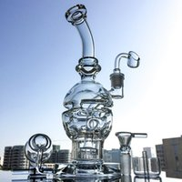 Wholesale Free Cheese - Faberge Egg Shape Glass Bong with Showerhead Perc Swiss Cheese Perc Round Base Water Pipe Recycler Oil Rig Grenade Bent Bong MFE01