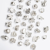 Mix 40 Style Antique Silver Plated Alloy Big Hole Charms Spacer Beads fit bracelet DIY Jewelry Necklaces & Pendants charms Beads