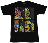 ingrosso immagini animate animali-The Muppets Mens T-Shirt - 4 Box Animal Beaker Fozzie Kermit Immagine stampato tondo uomo Tshirt prezzo a buon mercato