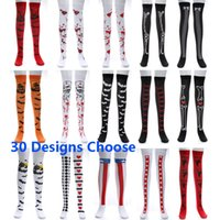 Wholesale bat women costume for sale - Women Halloween Cosplay Stocking Sock For Bat Bloody Skull Flag Festival Masquerade Costume Leggings Long Socks Designs HH7