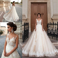 Wholesale Turkey Bridal Dresses - Vintage Princess Milla Nova Wedding Dresses Cheap Lace Turkey Women Country Western Bridal Gowns 2017 Pearls Sash Tulle