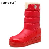 Wholesale calf height boots - FANIMILA Ladies Thick Fur Mid Calf Snow Boots Women Height Increasing Thick Platform Slip On Boots Women Winter Botas Size 34-43