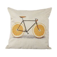 ingrosso cuscino per bicicletta-Cuscino per biciclette Bird Throw Pillow Case Vintage Girl Riding Bike Retro Bicicletta Decorativa Cuscino Home Decor per Car Sofa