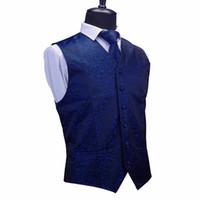 Wholesale chaleco slim fit - GUSLESON Mens Floral Waistcoats Quality Men Vest & Necktie & Handkerchief Set Fit Slim Coletes Chaleco Hombre For Party Wedding