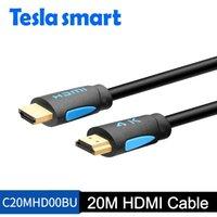 cable hdtv de la computadora al por mayor-Envío gratuito de DHL Tesla inteligente Cable HDMI más largo 20M 65FT HDMI 4K Cable 3D 1080P HDTV LCD Ordenador portátil PS4 Proyector de computadora Video DVD