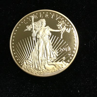 5 pcs Non magneitc the brand new In God trust Freedom 2018 real gold plated Liberty souvenir coin 32.6 mm in diameter American free shipping
