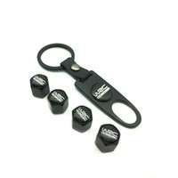 Wholesale volkswagen auto accessories - 4Pcs set S ST RS SKULL Wofl WRC SAAB viper logo Key Chain Tire Valve Caps Tyre Air Stems Cap Auto Motorcycle Wheel Cover Tire Accessories