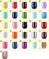 Wholesale Clamp Wall - 9oz Egg Cup Stainless Stemless Wine Glass Powder Coated Rose Gold Mug with Lid Double Wall Thermos Cocktail Cups