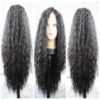 Wholesale Cheap Long Wavy Wigs Black - Top Quality Cheap 1b# 2# 27# 613# Long Curly Wavy Africa American Wigs Heat Resistant Glueless Synthetic Lace Front Wigs for Black Women