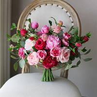 Wholesale cheap brooch wedding bouquets - New Fuchsia Pink Bridal Holding Brooch Bouquet 2018 Rose Cheap Silk Wedding Decoration Artificial Bridesmaid Bridesmaid Bouquet Decorations
