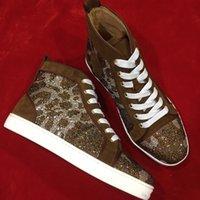 los zapatos claveteados liberan el envío al por mayor-Envío gratis para hombre diseñador de la marca zapato inferior rojo moda picos pisos de cuero genuino zapatillas de deporte del partido de alta superior zapatos casuales