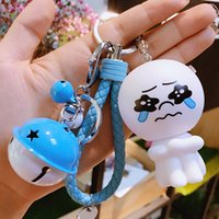 Wholesale bunny tin - 40 style Cute Cartoon Little Bunny Rabbit Bear Keychain Leather Rope Key Holder Metal Bell Key Chain Keyring Charm Bag Auto Pendant Gift