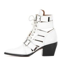 New arrival women boots fashion lace up buckle decoration chunky heels sexy  pointed toe geninue leather summer ankle booties 8d1d730bf8f1