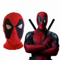Wholesale deadpool movie costume for sale - Marvel Deadpool Masks Head Cover Hood Superhero Cosplay Costume Party Headwear Bow Cap Full Face For Men Kids NNA523