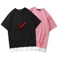Wholesale fake tees resale online - Mens Fake Two Piece High Street Casual Tshirts Summer Male Hip Hop Tees Short Sleeve Crew Neck Tops