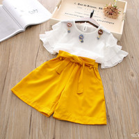 Wholesale butterfly s - New Girl Clothes Set Summer Butterfly Sleeve Top+Short Pants 2 Pieces Clothes Suit Boys Girl Suit 5 s l