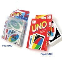 Wholesale free games cards - 1pcs UNO poker PVC Paper card standard edition family fun entertainment board game funny Puzzle game Free Shipping