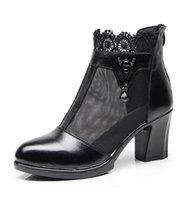 Wholesale Coarse Yarn - 2018 summer new female sandals hollow coarse with silk screen yarn leather rhinestone high heel women's cool boots