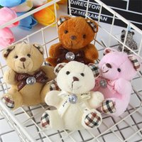 Wholesale Wholesale Teddy Bear Gift Bags - Plush Pendant Small Bow Teddy Bear Child Kid Toy Gift Bag Key Car Lovely Accessoriess With Diamond Hot Sale 2 5my V