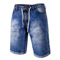 bermuda jeans masculina achat en gros de-2018 Mode Hommes Denim Shorts D'été Hommes Casual Jeans Harem Court Hommes Au Genou Longueur Court Bermuda Masculina Jeans Shorts Pour Hommes