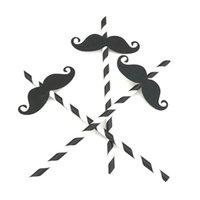 ingrosso decorazione di cerimonia nuziale dell'annata diy-Nuovo 10 pz / lotto Barbe di Paglia di Carta diy Eco Vintage Stripe Cannuccia Per Matrimonio Compleanno Decor foto creative puntelli baffi