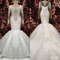 Wholesale white shirt luxury online – design 2019 Luxury Wedding Dresses Gorgeous Embroidery Beaded V Neck Long Sleeves Mermaid Charming Luxury Crystal Wedding Gowns