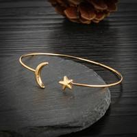 Wholesale moon bangle for sale - Group buy 10pc set Fashion Women Star Moon Love Heart Crystal Chain Bangle Bracelet friendship bracelet handemade jewelry
