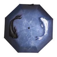 guarda-chuva chinês preto venda por atacado-Marca de Qualidade Completa Automático Chuvoso Mulheres Soltas Homens Chineses Taiji Sorte Peixe 3d Paern Guarda-chuva Dobrável Parasol Revestimento Preto