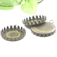 Wholesale pendant tray round silver cabochon for sale - Group buy 38PCS Antique bronze toned crown pendant trays round bezel cabochon mountings jewelry findings mm