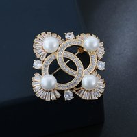 Wholesale Girl Suits For Wedding - Europe and America Luxury Brand Design Brooch AAA CZ Pearl Brooch Pin for Girls Women Suit Lapel Pin for Party Wedding NL-576
