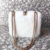 Wholesale studs spikes bags for sale - 2018 new white color Mink hair rivets women handbag A quality famous designer garavani Rock Studs spike lady fashion chain shoulder bag